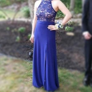 NIGHTWAY BLUE ROYAL PROM DRESS LACE SEQUINS SIZE 4